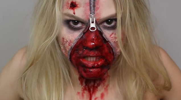 This Unzipped Zipper Face Halloween Makeup Is The Stuff Nightmares Are Made Of | StarCentral ...
