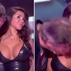 This Kim Kardashian Lookalike Refused To Kiss This Man On TV. So He Kissed Her Breasts Instead!
