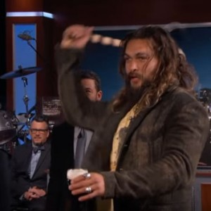 "Watch Badass Aquaman Throw Axes On ""Jimmy Kimmel Live!"" While Holding A Beer In His Hand"