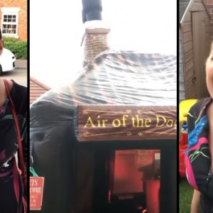 This Man Couldn't Find A Babysitter For Date Night, So He Surprised His Wife With An Inflatable Pub In Their Backyard!