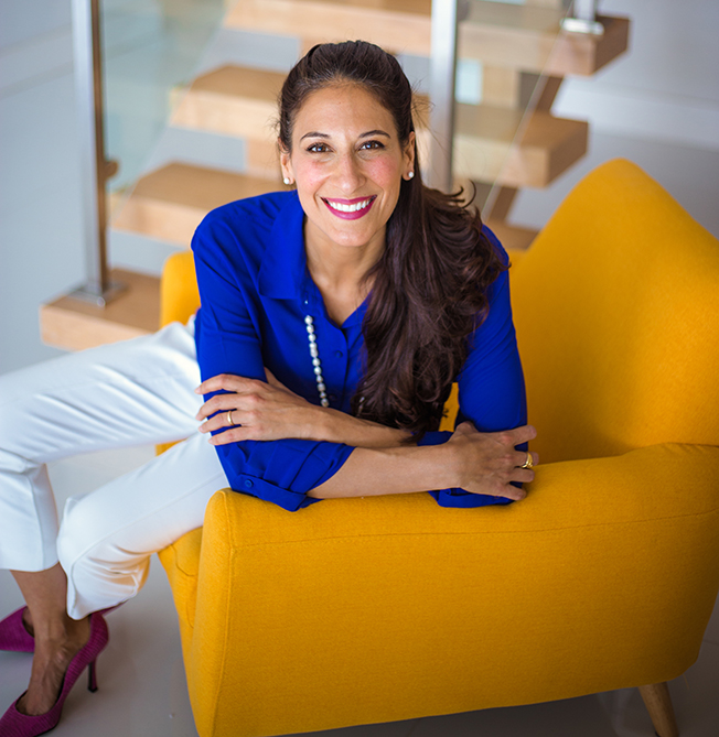 Jasmin Terrany, LMHC yellow chair