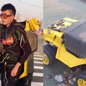 This Inventor Created An Electric-Powered Costume To Turn Himself Into A Real 'Transformer'