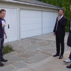 Watch Tom Brady Help Jimmy Kimmel Vandalize Matt Damon's House