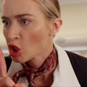 Emily Blunt Is A Terrifying Flight Attendant In This Hilarious 'A Quiet Plane' Parody