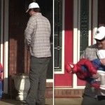 This Man Really Wanted Some Halloween Candy So He Went Trick Or Treating With A Fake Kid