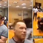 Arnold Schwarzenegger Just Got Drop-Kicked By Some Idiot At An Event And He Didn't Even Flinch